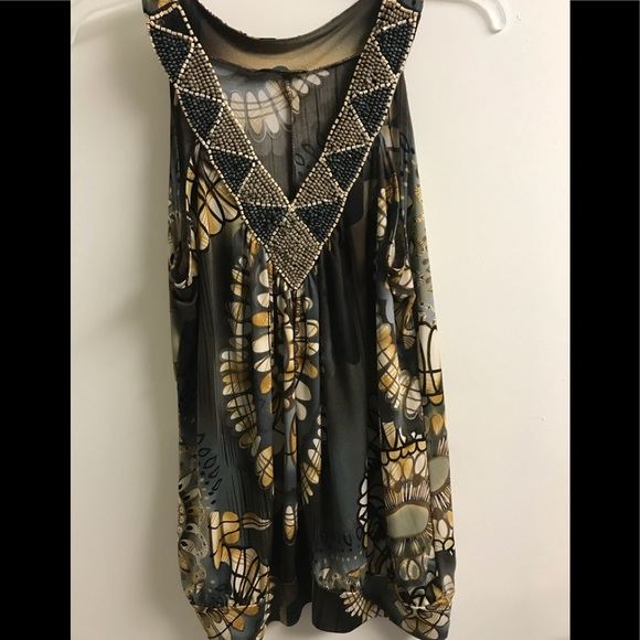 musa Tops - Musa Women's blouse sleeveless V-neck decorated